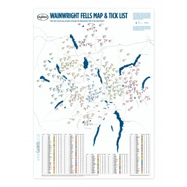 Wainwright Fells Map & Tick List - A2 size, small, 594 x 420mm